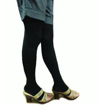 Venisof Blackถุงน่องรักษาเส้นเลือดขอด สีดำ แบบต้นขา ปลายเท้าเปิดopen แรงรัด 20-30 mmHg