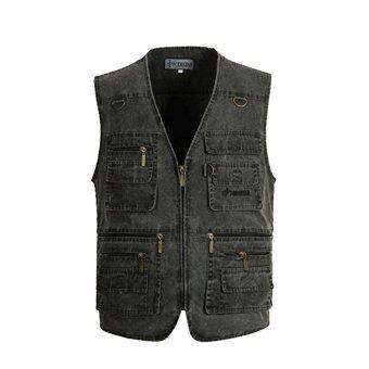 Vest Alipolo Mens Summer Cotton Leisure Outdoor Plus Size Fish Vest - intl