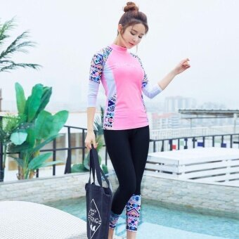 Victory 2PCS new Women Diving suit Long sleeve Sunscreen Swimsuit surfing Snorkeling Costume waterproof Yoga Costume(Pink) - intl