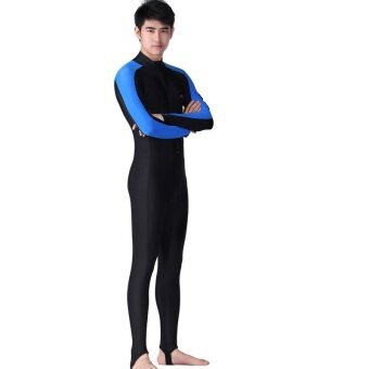 Victory Men Siamese Long sleeve Wetsuits surfing suit Swimming suit couples Prevent bask in clothes(Blue) - intl