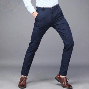 Victory New Men's กลางเอวยืดหยุ่นกางเกงลำลองกางเกง แฟชั่นยาวกางเกงกีฬากางเกงลำลอง (น้ำเงิน)