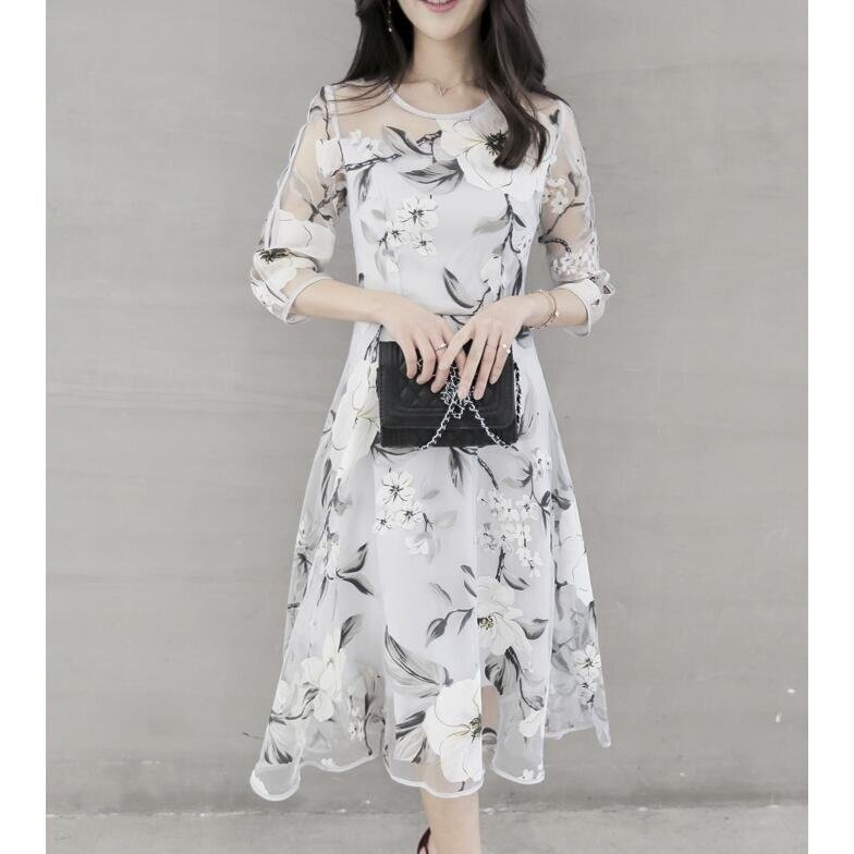 Victory New Women's Midi Dresses Printing floral Organza dress Medium dress (White floral) - intl