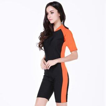 Victory Siamese Short sleeve Wetsuits surfing suit couples Prevent bask in clothes(orange) - intl