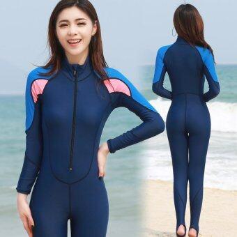ชุดว่ายน้ำทรีทเมนต์ชุดว่ายน้ำ ชุดชุดว่ายน้ำ (Blue)
