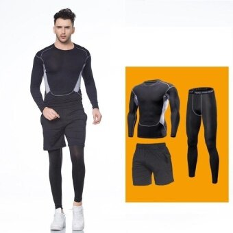Harga VOYAGE 3PCS Men sports long sleeve Shorts trousersrunningbasketball Fitness training Breathable stretchquick-dryingBlack - intl