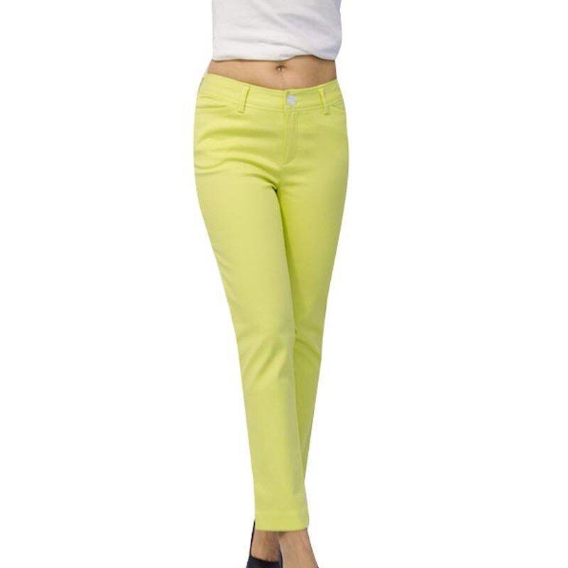WAKE กางเกง 6 ส่วน สีเขียวมะนาว
