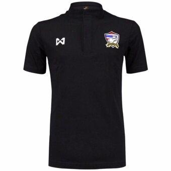 เสื้อแข่งทีมชาติไทย Warrixคอตัง สีดำ