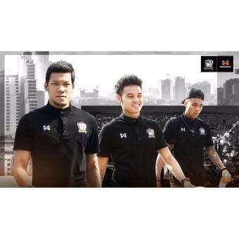 เสื้อแข่งทีมชาติไทย Warrixคอตัง สีดำ - 2