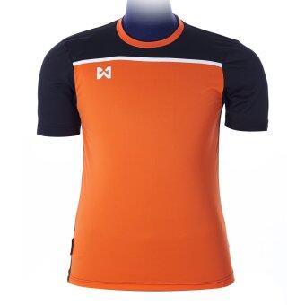 WARRIX SPORT เสื้อฟุตบอลพิมพ์ลาย WA-1531 ( สีส้ม-ดำ )