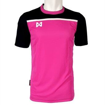 WARRIX SPORT เสื้อฟุตบอลพิมพ์ลาย WA-1531 สีชมพู-ดำ