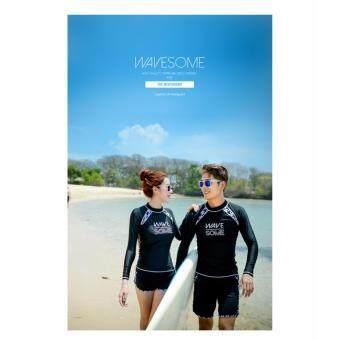 ชุดว่ายน้ำแขนยาวชาย สีดำ+กางเกงว่ายน้ำขาสั้น(wave)