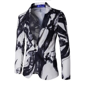 white Blazer Men Printed Men Blazers Casual Suit Jacket Slim Fit Wear Brand Coat Homens Blazer Mens Stage - intl