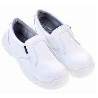 WHITE ESD A1: รองเท้าเซฟตี้ กันไฟฟ้าสถิตย์ สีขาว พื้นพียู หัวเหล็ก EN20345 เบาและนุ่ม