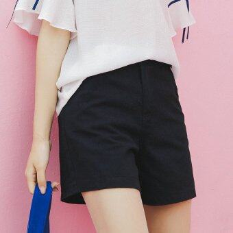 Will the New Summer 2017 Women's Clothing Leisure Joker Cotton Shorts Straight Canister Ladies Casual Pants Black - intl