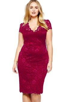 Wine Scalloped V-neck Lace Plus Size Midi Dress - intl
