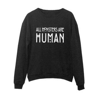 Winter Long Sleeve Pullover Hoodie Sweatshirt Coat (Black) - intl