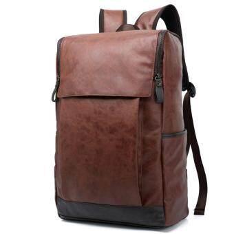 WIOZONE กระเป๋าสะพาย เป้ กระเป๋าหนัง กระเป๋าเดินทาง สะพายหลังNotebook Backpack bag Premium สีดำ (Brown) E2