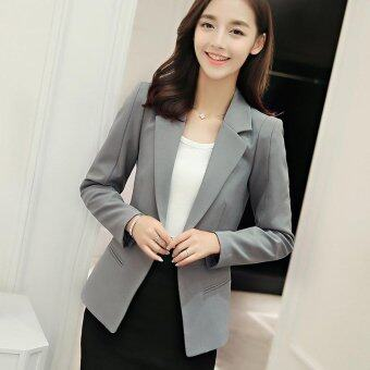 Women Blazers Jackets Suit Spring Autumn Single Button FemaleLadies Blazer(Grey) - intl