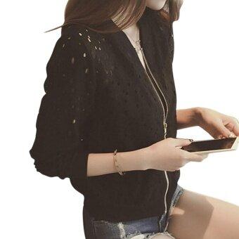 Women Bomber Long Sleeve Lace Sunscreen Thin Baseball Coat(black) - intl