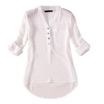 women casual blouse Hequ Long Sleeved Chiffon Shirt (White) - intl