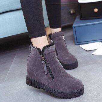 Women Fashion Ankle Boots Flats Casual Shoes Warm Suede Shoes -intl