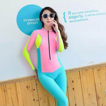Women Fashion Patchwork Two Pieces Padded Swimsuit Sun-resistant Wetsuit (Sky Blue) - intl