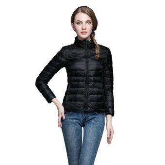 ผู้หญิงแสงลงเสื้อใหม่มาถึงผู้หญิงบางสั้น 90% เป็ดสีขาวพิเศษ Parka ซิปกระเป๋าขนาด solid Coats Parka (สีดำ)