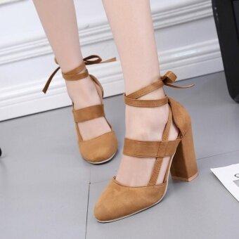 ผู้หญิงปาร์ตี้หนังนิ่ม Strappy หนารองเท้าส้นสูงรองเท้าแตะ CLASSIC PLUS BW/37