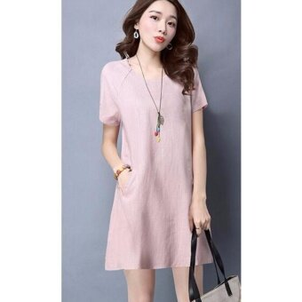 Women Short Sleeve Pockets O-Neck Tops Loose Casual Cotton A-lineMini Dress (pink color) - intl