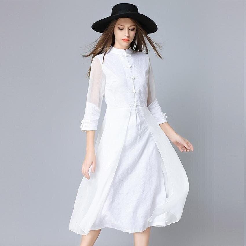 Women Silk Cheongsam Dress Spring Autumn New Style Retro Slim Sleeve Printed Linen Collar Splicing Irregular Dresses - intl