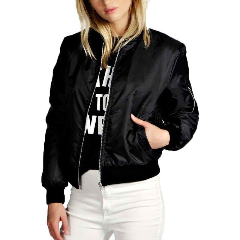 Women Spring Autumn Casual Solid Thin Jacket Bike Coat Celeb Bomber Long Sleeve Stand Collar Short Outerwear Tops Plus Size Black - Intl