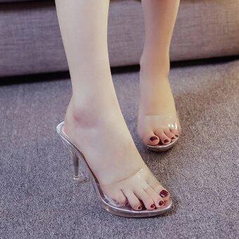 Women Summer Fashion Transparent High Heel Sandals Size 35-39(silver) - intl