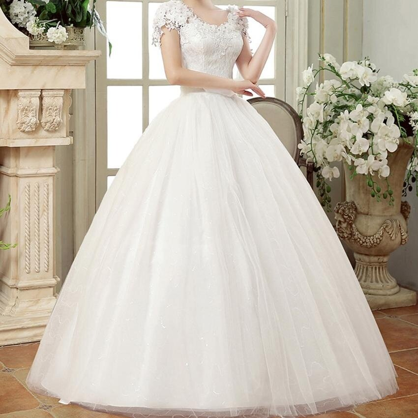 Women Sweet Lace Wedding Dress Romantic Fashion Korean Style Lace Flowers Long Ball Gowns - intl