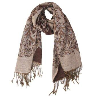 Women Warm Long Cashmere Scarf Pashmina Coffee
