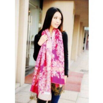 Women Warm Long Cashmere Scarf Pashmina Rosy