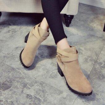 ผู้หญิงฤดูหนาวหิมะสุภาพสตรีรองเท้าส้นสูงข้อเท้า BUCKLE Martin รองเท้า รองเท้า