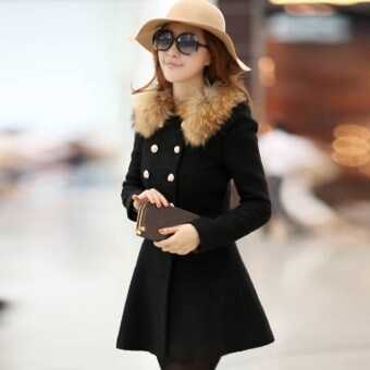 Women Woolen Winter Trench Double Button Fur Collar Coat JacketOutwear 4 Colors