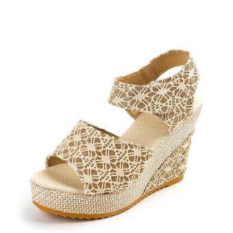 Women's Sandals Wedge Heel Peep Toe Platform Shoes (Beige) - intl
