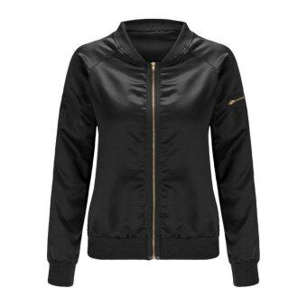Harga WomenPadded Bober Jackset Vintage Zip Up Biker Coat (Back)