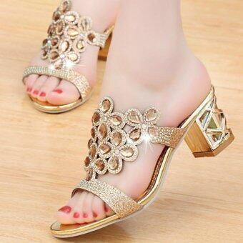 รองเท้าแตะส้นสูงของผู้หญิง Shine Flip-flop รองเท้าสบาย ๆ ฤดูร้อนรองเท้าแตะรองเท้าแตะชายหาดรองเท้าแตะรองเท้าแตะสวย ๆ Women's Chunky Heel Sandals Shining Flip-flop Sweet Summer Shoes Beautiful Sandals Beach Shoes Casual Shoes - intl