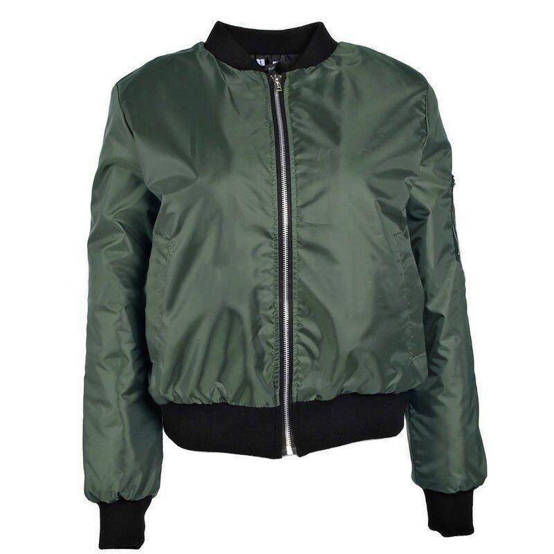Womens Classic Padded Bomber Jacket Ladies Vintage Zip Up Biker Coat - intl