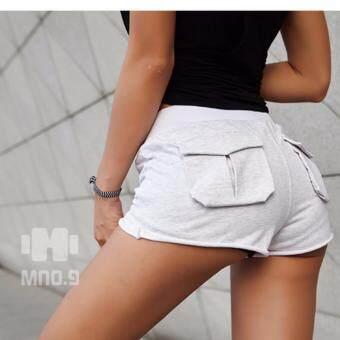 2561 กางเกงฟิตเนสขาสั้น แบบมีกระเป๋าหลัง สำหรับผู้หญิง Women s Fitness Shorts pants (สีเทาอ่อน/Grey)