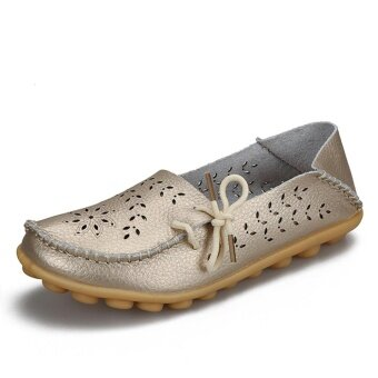 Women's Genuine Leather Loafers Casual Moccasin Driving Shoes Indoor Flat Slip-on Slippers - intl