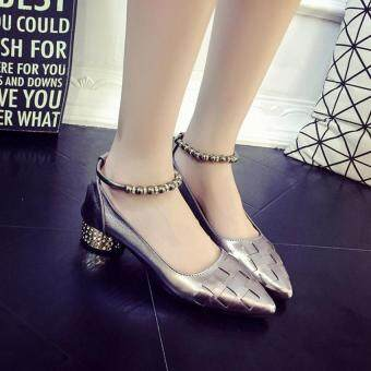 Women's High Heel Pointed Toe Ankle Buckle Strap Evening Party Dress Casual Sandal Shoes(Gray)