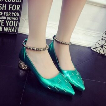 Women's High Heel Pointed Toe Ankle Buckle Strap Evening Party Dress Casual Sandal Shoes(Green)