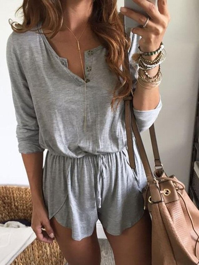Womens Holiday Mini Playsuit Ladies Shorts Jumpsuit Summer Beach Dress(Grey) - intl