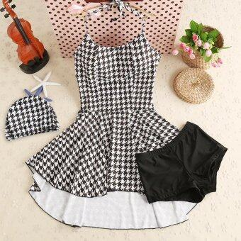 Womens Swimsuit Swimwear Two-Piece Split Houndstooth Swimsuits - intl