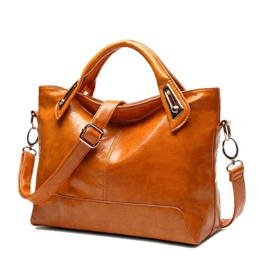 กระเป๋าเป้ นักเรียน ผู้หญิง วัยรุ่น สุโขทัย สตรี กระเป๋าถือสุภาพสตรี VINTAGE WAX กระเป๋าโททหนังกระเป๋าสะพายไหล่กระเป๋าสตางค์แบบมีสายสะพาย   สีน้ำตาล   INTL