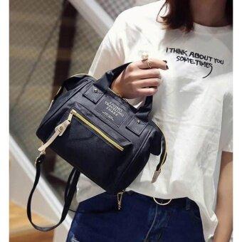 wonderful story 3 in 1 Women Bag Top Handle Bag Women Backpack กระเป๋าสะพายไหล่ กระเป๋าเป้สะพายหลัง(black)