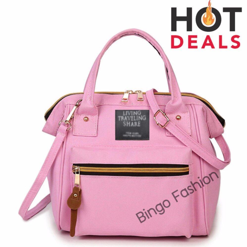 กระเป๋าสะพายพาดลำตัว นักเรียน ผู้หญิง วัยรุ่น จันทบุรี wonderful story 3 in 1 Women Bag Top Handle Bag Women Backpack กระเป๋าสะพายไหล่ กระเป๋าเป้สะพายหลัง   pink